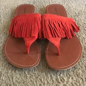 Beautiful coral suede fringe sandals